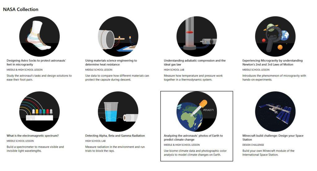 Een overzicht van de Hacking STEM-lessen die zijn ontwikkeld in samenwerking met NASA (Bron: Microsoft)
