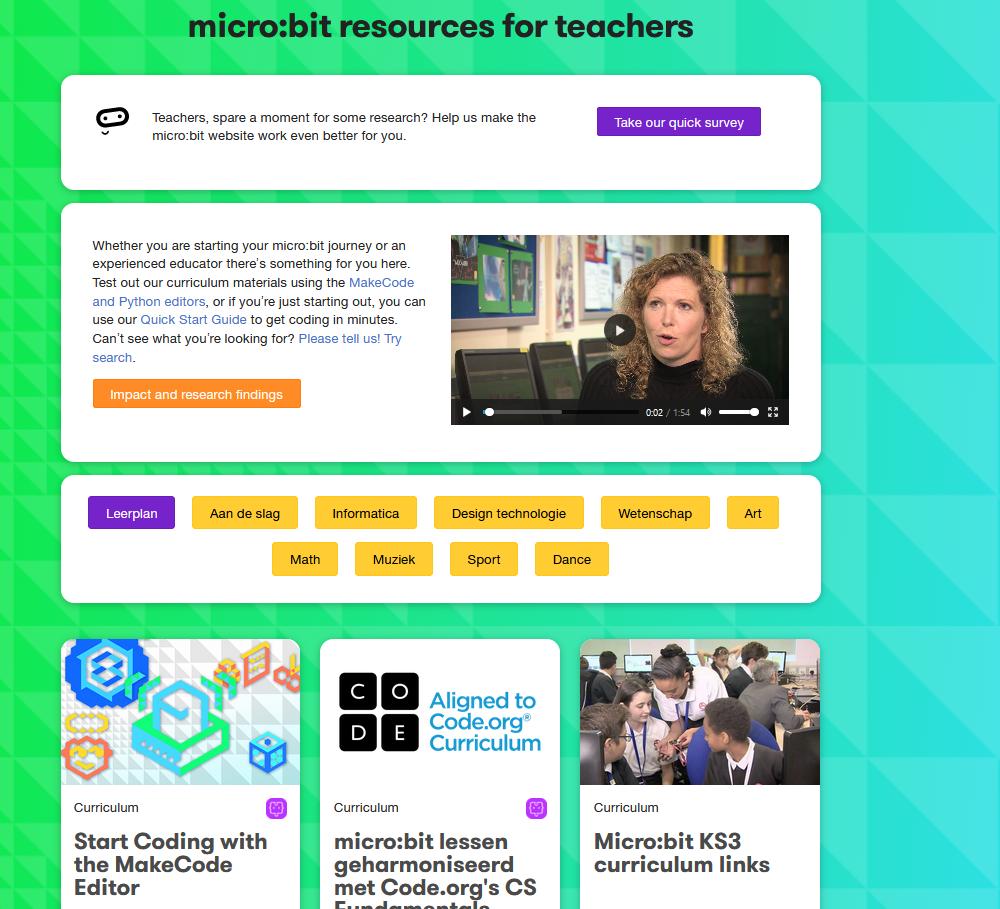 Website voor docenten van Micro:Bit