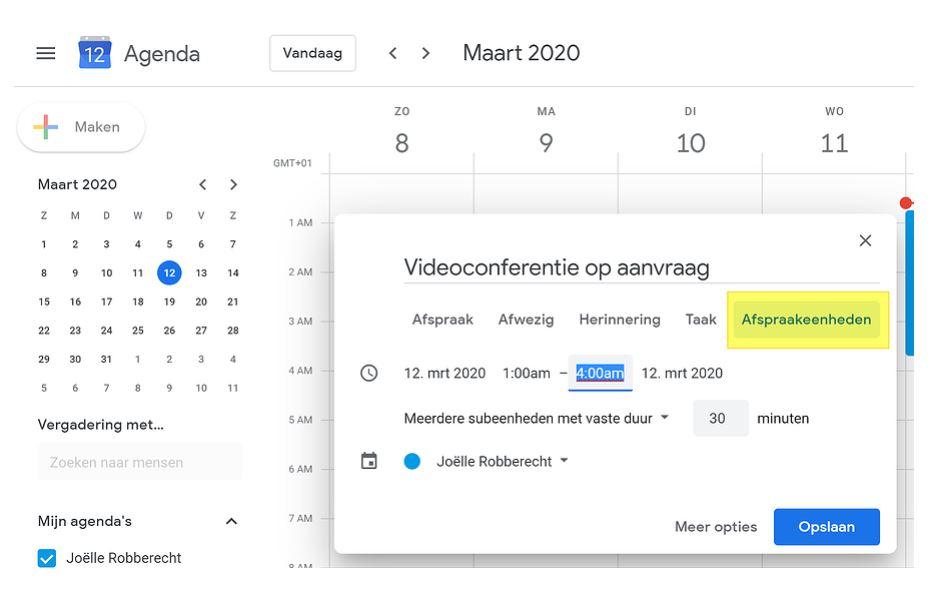 Leren op afstand met Google Calendar
