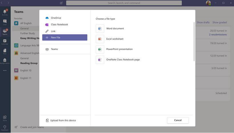 Voortaan kun je in Microsoft Teams ook One Note bestanden toevoegen.